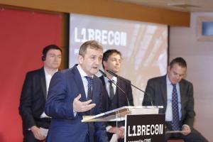 Eneko Astigarraga, en la presentación del acuerdo entre Librecon y CEBIT